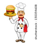 chef with hamburger | Shutterstock .eps vector #150354608