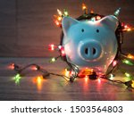 blue piggy bank with party... | Shutterstock . vector #1503564803