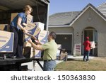 couple unloading moving boxes...   Shutterstock . vector #150363830