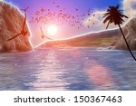flying seagulls over the sea at ... | Shutterstock . vector #150367463