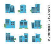 buildings icon set | Shutterstock .eps vector #150370994