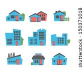 buildings icon set | Shutterstock .eps vector #150371018