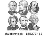 engravings of portraits of six... | Shutterstock . vector #150373466