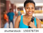 pretty african college girl on... | Shutterstock . vector #150378734