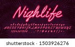 neon light alphabet font  red... | Shutterstock .eps vector #1503926276