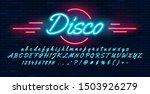 neon light blue font hand... | Shutterstock .eps vector #1503926279