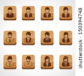 Wood icon set business people - stock vector