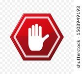 stop symbol vector  red with... | Shutterstock .eps vector #1503949193