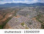 Looking southeast at the Huachuca Mountains and the city of Sierra Vista, Arizona