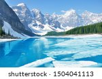 moraine lake under the ice at... | Shutterstock . vector #1504041113