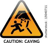 vector of alert sign 26 caving