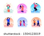 kids jump over the air set...   Shutterstock .eps vector #1504123019