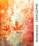 Small photo of autumn leaves on rainy glass texture. fall season nature background. orange maple leaves, rainy day weather. atmosphere autumn image