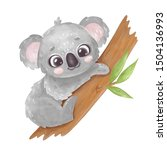 Cute Cartoon Koala On A Tree....