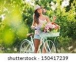 Beautiful Girl On Bike In...