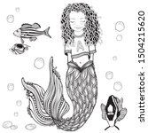 cute mermaid and  fish. little...   Shutterstock .eps vector #1504215620