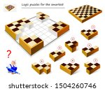 Stock vector logic puzzle game for smartest need to find correct place for each block and collect chess board 1504260746