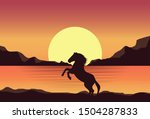 rearing horses at sunset in the ... | Shutterstock .eps vector #1504287833