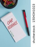 Small photo of Writing note showing Car Insurance. Business photo showcasing Accidents coverage Comprehensive Policy Motor Vehicle Guaranty Notebook and stationary with mouse above pastel backdrop.