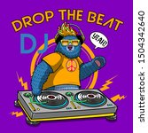 cartoon dj bear illustration...