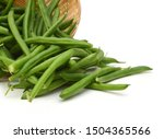 Green Beans And Basket On White ...