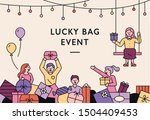 happy people carrying gift... | Shutterstock .eps vector #1504409453