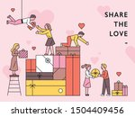 people sharing each other... | Shutterstock .eps vector #1504409456