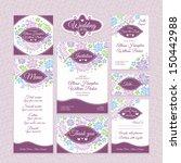 set 11 of floral wedding cards. ... | Shutterstock .eps vector #150442988