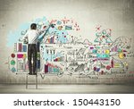 back view of businessman... | Shutterstock . vector #150443150