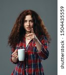 Young Woman With Cup Of Coffee...