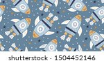 childish seamless pattern with... | Shutterstock .eps vector #1504452146