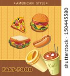 retro fast food menu cards.... | Shutterstock .eps vector #150445580