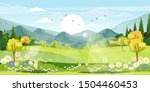 panorama view of spring village ... | Shutterstock .eps vector #1504460453