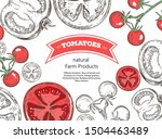 different tomatoes. slices of... | Shutterstock .eps vector #1504463489