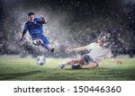 two football players in jump to ... | Shutterstock . vector #150446360