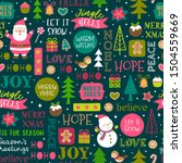 cute christmas elements and fun ... | Shutterstock .eps vector #1504559669