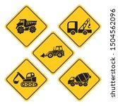 heavy trucks road sign...   Shutterstock .eps vector #1504562096