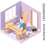 Vector isometric carpenter worker at new wooden door installation in the house. Worker in blue overalls, related tools, sawhorse  - stock vector