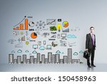 businessman standing in room... | Shutterstock . vector #150458963
