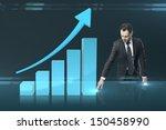 businessman pushing chart ... | Shutterstock . vector #150458990