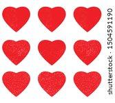 heart shape postal stamps set... | Shutterstock .eps vector #1504591190