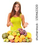 Young woman with assorted fruits isolated on white background - stock photo