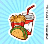 set of fast food in cartoon... | Shutterstock .eps vector #150463463