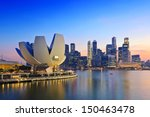 Singapore City Skyline At...