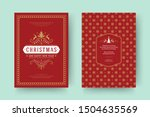 christmas greeting card vintage ... | Shutterstock .eps vector #1504635569