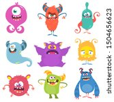 Cute Cartoon Monsters. Set Of...