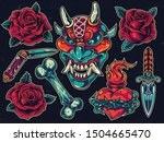 colorful tattoos composition... | Shutterstock .eps vector #1504665470