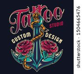vintage tattoo studio colorful... | Shutterstock .eps vector #1504665476