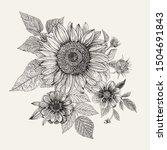 vintage floral composition.... | Shutterstock .eps vector #1504691843