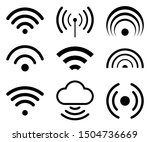 wifi internet icons sign set  ... | Shutterstock .eps vector #1504736669